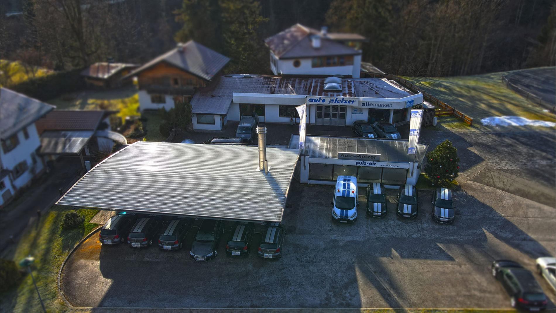 Auto Pletzer Lackiererei und Kfz Werkstatt in Going am Wilden Kaiser Bezirk Kitzbühel von oben